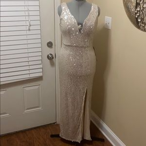 New cream sequin dress